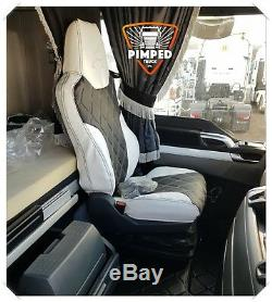TRUCK SEAT COVERS MAN TGX / TGS ECO LEATHER SEAT COVERS White&Black