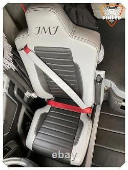 TRUCK SEAT COVERS RENAULT T range light grey &Black ECO LEATHER