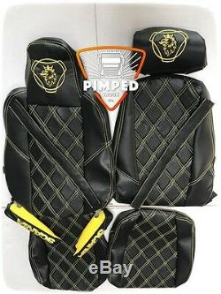 TRUCK SEAT COVERS SCANIA R/P/S 2014. Full ECO LEATHER 2 different seats Black