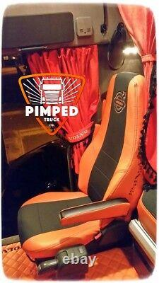 TRUCK SEAT COVERS VOLVO FH/FM 02-13 ORANGE ECO LEATHER SEAT COVERS + embroidery