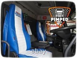 TRUCK SEAT COVERS VOLVO FH/FM 2002-2013 Blue&White ECO LEATHER SEAT COVERS