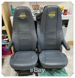 TRUCK SEAT COVERS VOLVO FH/FM 2002-2013 Dark Grey ECO LEATHER SEAT COVERS