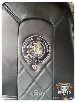 TRUCK SEAT COVERS VOLVO FH4 BLACK&BLACK ECO LEATHER SEAT COVERS with custom logo
