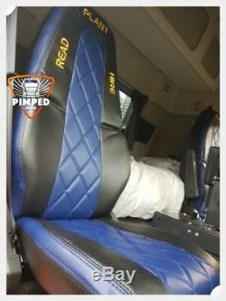 TRUCK SEAT COVERS VOLVO FH4 Black&Navy Blue ECO LEATHER SEAT COVERS