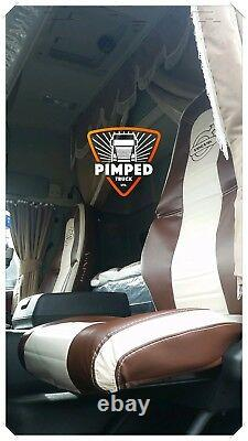 TRUCK SEAT COVERS VOLVO FH4 Brown&Beige ECO LEATHER SEAT COVERS horizontal style