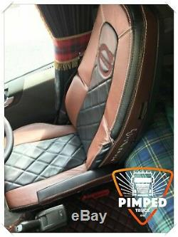 TRUCK SEAT COVERS VOLVO FH4 Brown&Black ECO LEATHER SEAT COVERS diamonds style