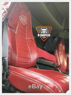 TRUCK SEAT COVERS VOLVO FH4 Burgundy&Burgundy ECO LEATHER SEAT COVERS