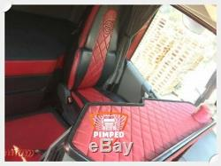 TRUCK SEAT COVERS VOLVO FH4 black&red ECO LEATHER SEAT COVERS