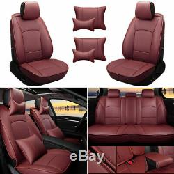 Truck Car Seat Cover Set For Ford F-150 2010-2019 5 Seat Front Rear Red Wine