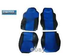 Truck Eco Leather Seat Cover Fit Man Tgx / Tgs /tga Pair Of Black And Blue