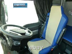 Truck Eco Leather Seat Cover Fit Man Tgx / Tgs /tga Pair Of Blue And Beige