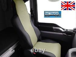 Truck Eco Leather Seat Covers Fit Man Tgx / Tgs /tga Pair Of Black And Beige