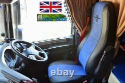 Truck Half Eco Leather Seat Covers Fit Daf Xf 106 Cf Euro 6 Pair Of Black/blue