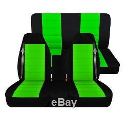 Truck Seat Covers 2001 Dodge Ram 40-20-40 Front Solid Rear Black Lime Green