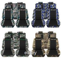 Truck Seat Covers 2014-2018 Chevy Silverado Camo Black Design Custom Fit ABF