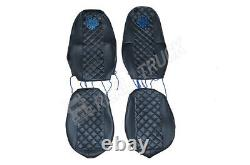 Truck Seat Covers Compatible Volvo Fh4 2013+ Eco Leather Black & Blue Stitches
