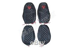 Truck Seat Covers Compatible Volvo Fh4 2013+ Eco Leather Black & Red Stitches