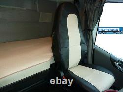 Truck Seat Covers Compatible With Volvo Fh4 2013-2019 Eco Leather Black / Beige