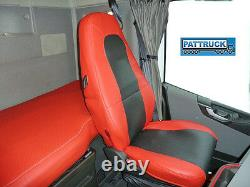 Truck Seat Covers Compatible With Volvo Fh4 2013-2019 Eco Leather Red-black