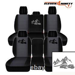 Truck Seat Covers Fits 11-18 Ram 1500-3500 / Black Charcoal 4x4 Mountain Logo
