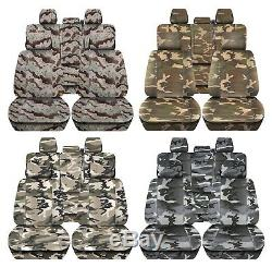 Truck Seat Covers Fits 2015-2018 Ford F150 Camouflage Design Front & Rear