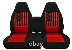 Truck Seat Covers Fits ford f150 97 to 2003 40/60 highback Split USA Flag FR+RR
